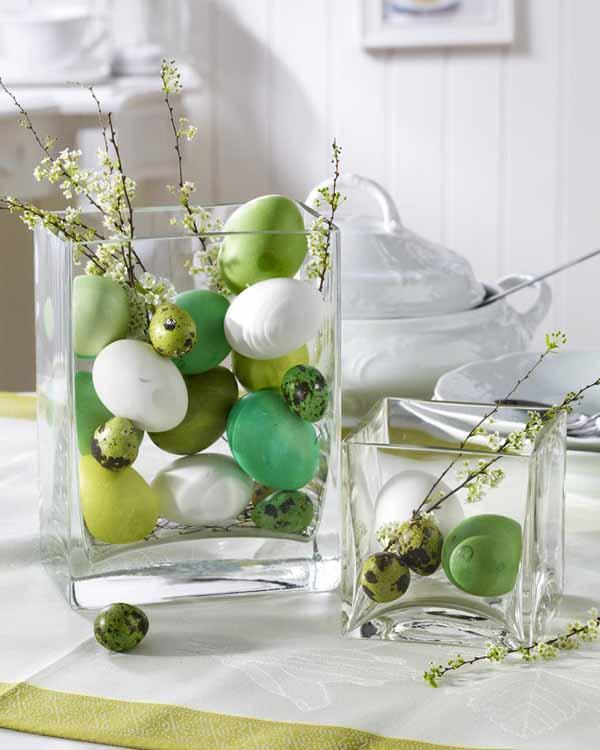 GrŸn/Wei§: Eier im Glas