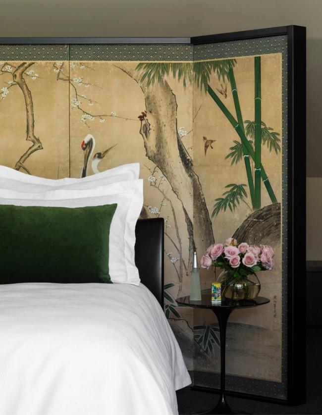 Ширма в дизайне спальни